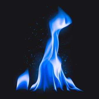Kampvuurvlamsticker, realistische afbeeldingsvector voor brandend vuur