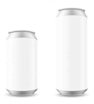 Kan van biermalplaatje blanck vectorillustratie