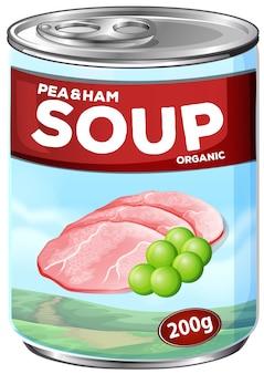 Kan van erwten en ham soep