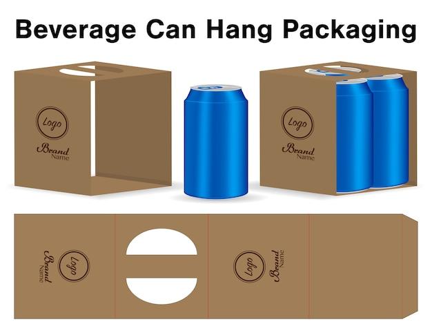 Kan verpakking sterven gesneden sjabloon 3d-mockup