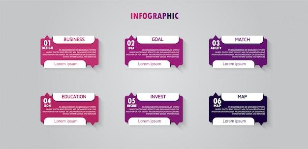 Kan worden gebruikt voor proces, presentaties, lay-out, banner, infografiek er zijn zes stappen of lagen.