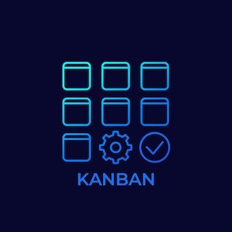 Kanban methode lijn vector pictogram