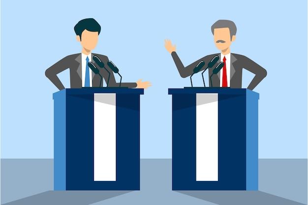 Kandidaat voor president op debat geïsoleerd. mannelijke spreker bij de microfoon achter de tribune. politicus spreekt.