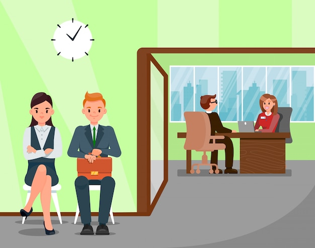 Kandidaten die op het illustratie van het jobgesprek wachten