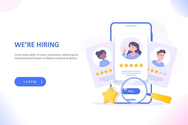 Kandidaten gerangschikt op het scherm van de hr-app