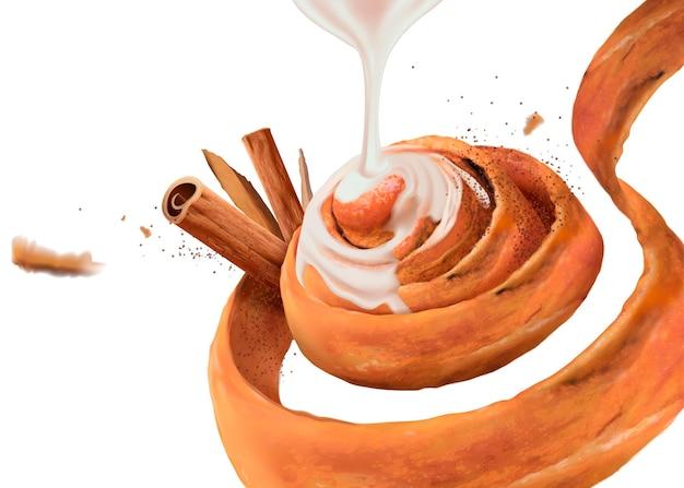 Kaneelbroodje met gecondenseerde melk en rou gui-kruiden in 3d-stijl