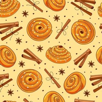 Kaneelbroodjes en pijpjes kaneel naadloos patroon.