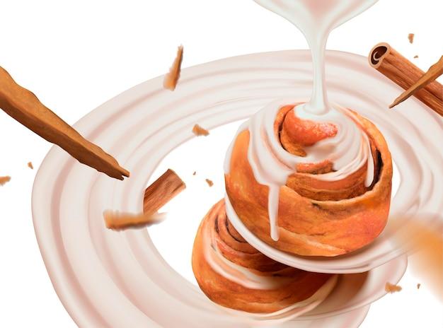 Kaneelbroodjes met wervelende gecondenseerde melk in 3d-stijl