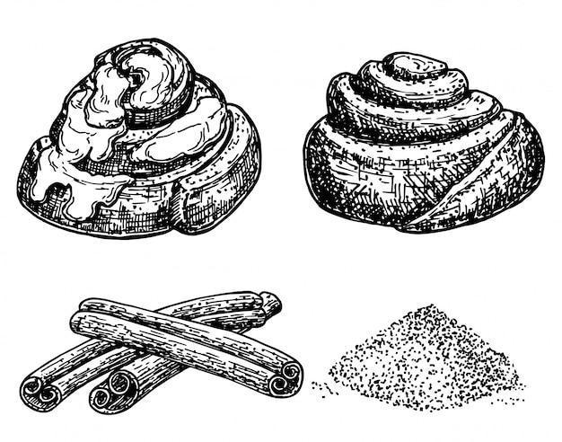 Kaneelrollen. ink schets geïsoleerd op een witte achtergrond. bakkerijproducten. hand getekende illustratie. retro stijl.