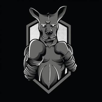 Kangaroo fighter zwart en wit illustratie