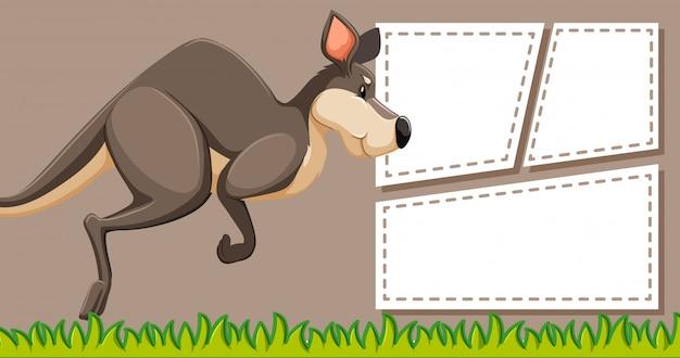 Kangaroo op notitie sjabloon