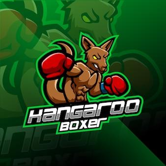 Kangoeroe boksen esport mascotte logo ontwerp