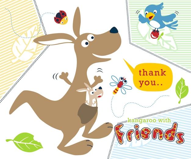 Kangoeroe cartoon met kleine vrienden