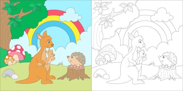 Kangoeroe en egel kleuren