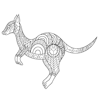 Kangoeroe getekend in doodle stijl