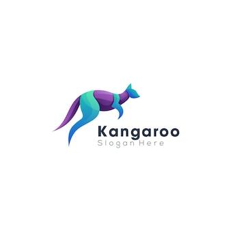 Kangoeroe gradiënt kleurrijke logo sjabloon