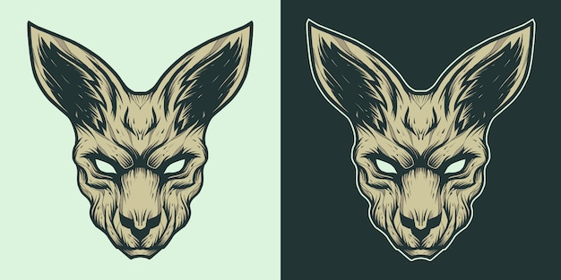 Kangoeroe hoofd mascotte logo afbeelding