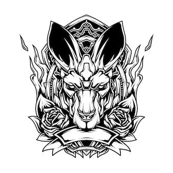 Kangoeroe lijntekeningen illustratie Premium Vector