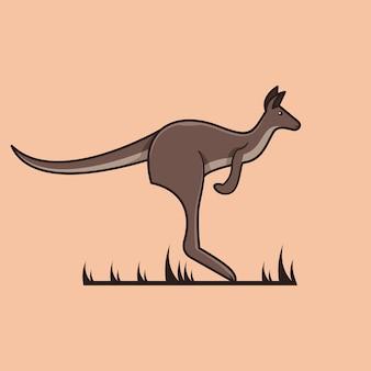 Kangoeroe mascotte logo ontwerp vectorillustratie