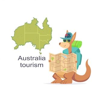Kangoeroe met kaart en rugzak vector cartoon illustratie geïsoleerd op een witte achtergrond.
