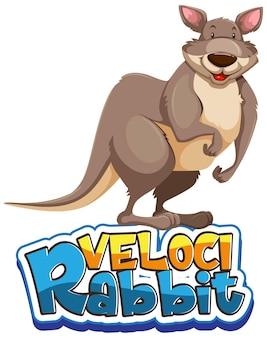 Kangoeroe stripfiguur met velocirabbit lettertype banner geïsoleerd