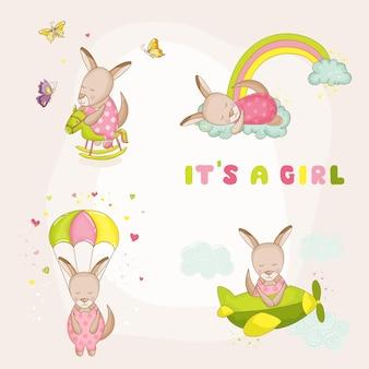 Kangoeroeset voor babymeisjes - babyshower of aankomstkaart - in