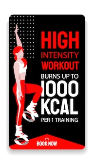 Kangoo jump hoge intensiteit interval workout advertentie verhaal sjabloon. vrouw in sport outfit en bounce schoenen knie omhoog springen oefening doen. cardiotraining en afslankplezier.