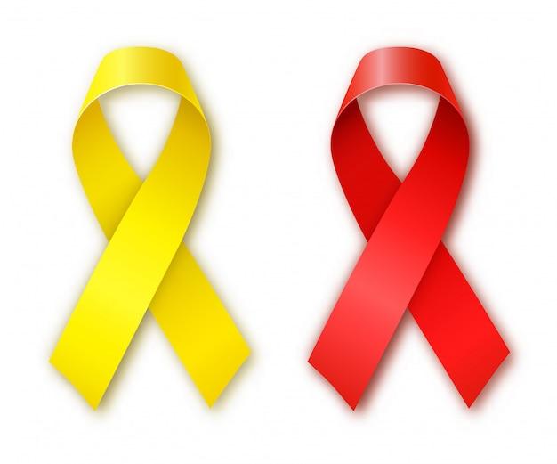 Kanker bewustzijn rode en gele linten. werelddag voor kanker. kinderkanker dag. vector illustratie