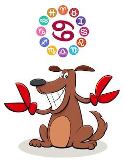 Kanker sterrenbeeld met cartoon hond