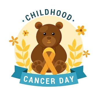 Kankerdag bij kinderen met teddybeer en bloemen