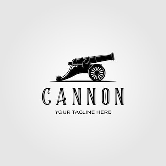 Kanon logo vintage illustratie ontwerp, kanon logo concept