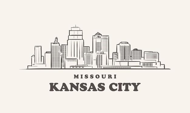 Kansas city skyline, missouri getrokken schets