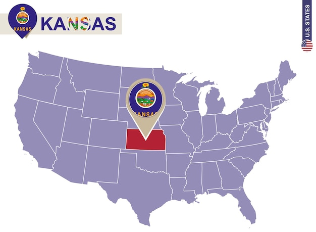 Kansas state op de kaart van de v.s. vlag en kaart van kansas. amerikaanse staten.