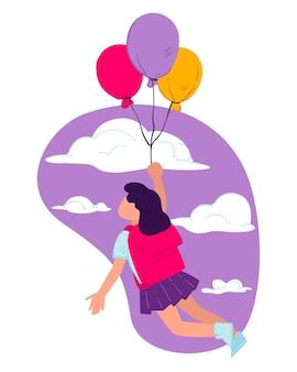 Kansen en mogelijkheden die het schoolonderwijs biedt. meisjesleerling die met ballonnen vliegt, kennis opdoet en persoonlijke vaardigheden ontwikkelt. dromen en verbeelding, vector in vlakke stijl