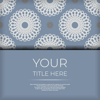 Kant-en-klaar postkaartontwerp in blauwe kleur met luxe patronen. uitnodigingskaartsjabloon met vintage ornament.