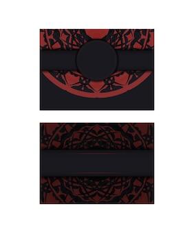 Kant-en-klaar postkaartontwerp in zwarte kleuren met griekse patronen. uitnodigingssjabloon met ruimte voor uw tekst en luxe ornamenten.