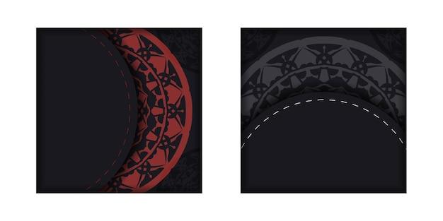 Kant-en-klaar postkaartontwerp in zwarte kleuren met griekse patronen. vector sjabloon van uitnodigingskaart met een plek voor uw tekst en luxe ornamenten.