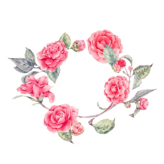Kanten krans met camellia bloemen