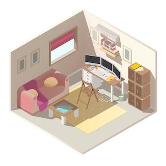 Kantoor aan huis in appartement isometrische vector interieur