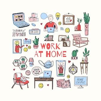 Kantoor aan huis interieur schattig doodle illustratie