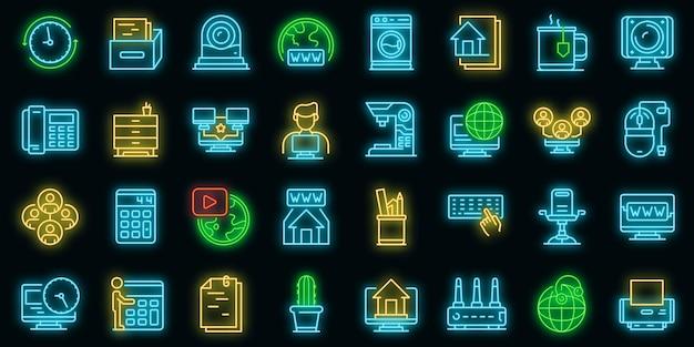 Kantoor aan huis pictogrammen instellen. overzicht set van thuiskantoor vector iconen neon kleur op zwart