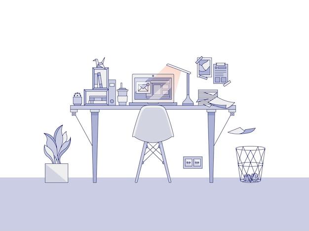 Kantoor aan huis werkruimte illustratie