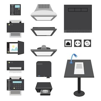 Kantoor- en presentatiepictogrammen voor werkplek en presentatie.