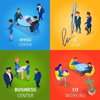 Kantoor- en zakencentrum, e-sign, werkset voor coworking.