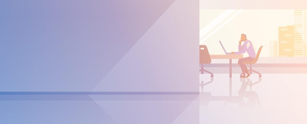 Kantoor interieur open-ruimte platte ontwerp vectorillustratie. zakenman boss topmanager zitten werken met laptop praten over de telefoon.