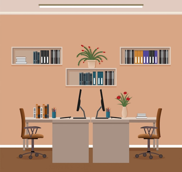 Kantoor kamer interieur met twee werkplekken en meubels. werkplaatsorganisatie in bedrijfsbureau.