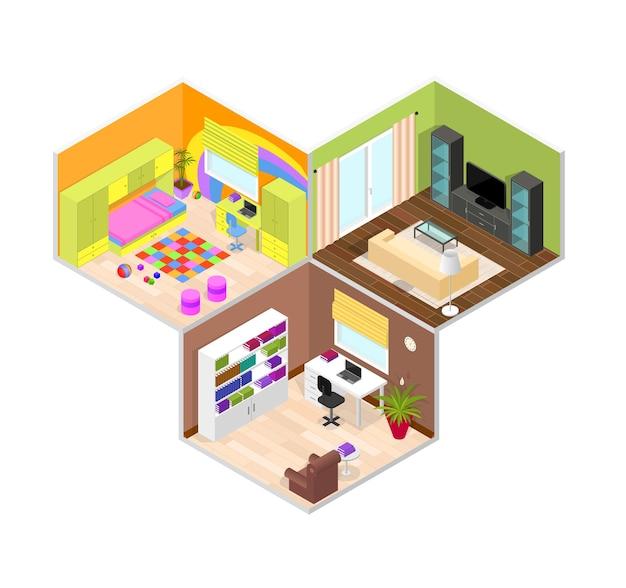 Kantoor, kinderen en woonkamer. isometrische weergave.