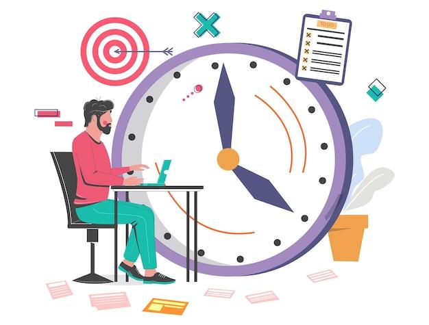 Kantoor man aan het werk op laptop klok doel checklist vector illustratie tijdbeheer schema tas...