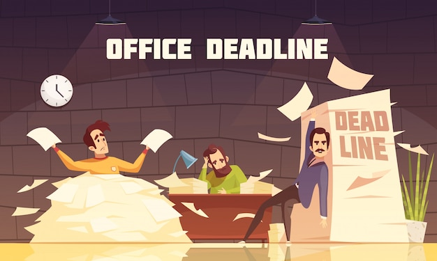 Kantoor papierwerk deadline cartoon