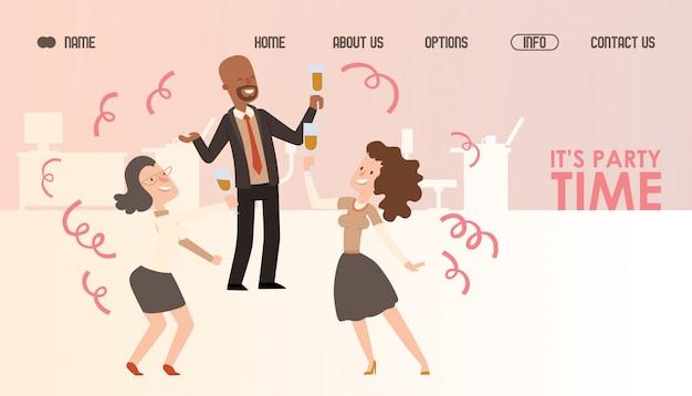 Kantoor partij website ontwerp. succesvolle zakenmensen vieren en dansen. landingspagina sjabloon, uitnodiging voor bedrijfsevenement. man en vrouw werknemers